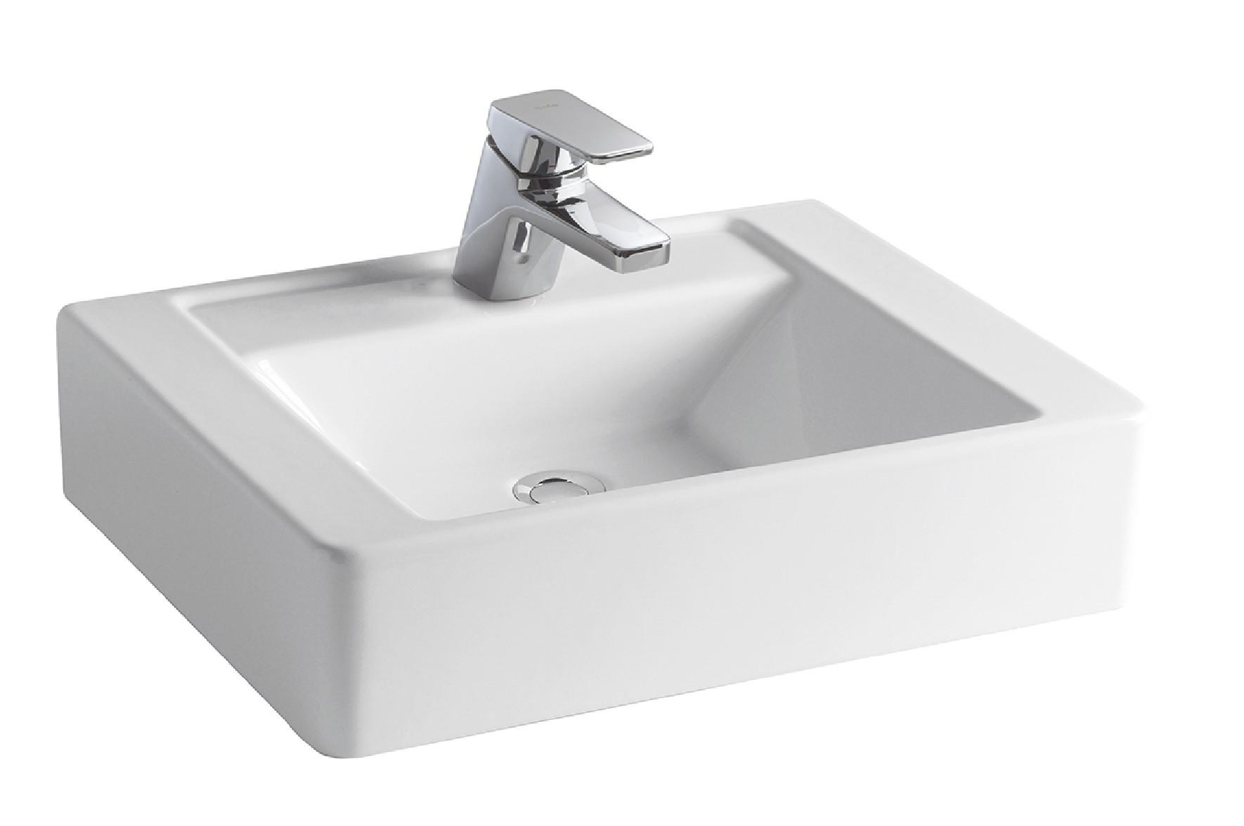 KES Lavabos Sobre Encimera Ba/ño Rectangular Blanco 61,5 x 41,5 x 11,5 cm BVS113