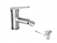 Single lever bidet mixer with automatic waste